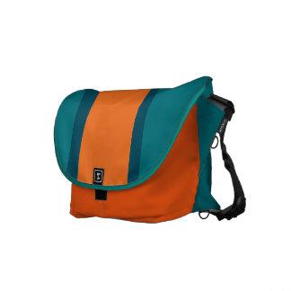 Aqua Teal and Orange Messenger Bag