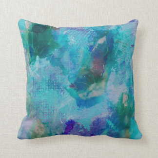 Aqua teal and purple abstract throw pillow cushions