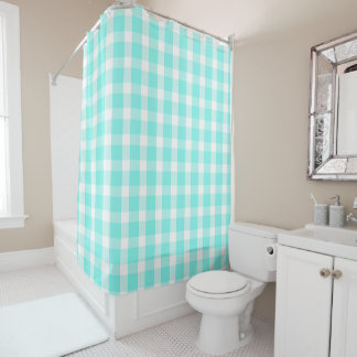 Aqua Teal and White Buffalo Checks Pattern Shower Curtain