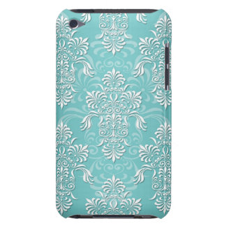 Aqua Teal and White Damask Barely There iPod Covers
