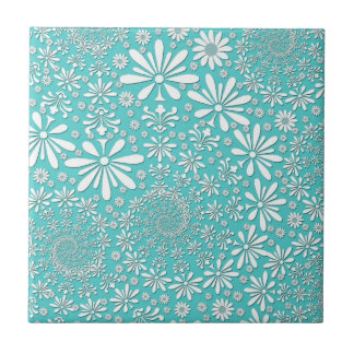 Aqua Teal and White Spring Flowers Pattern Ceramic Tile