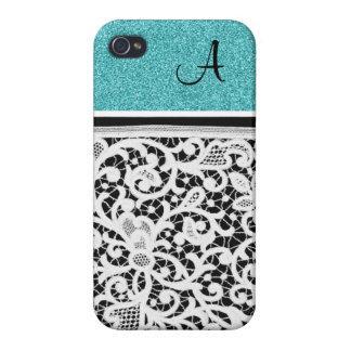 Aqua Teal Black Vintage Lace Girly Monogram iPhone 4/4S Case