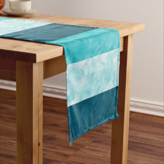 Aqua Teal Block Stripes Short Table Runner