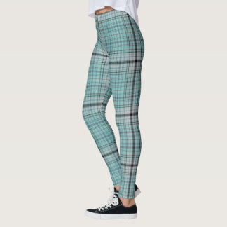 Aqua Teal Blue BlackTartan Plaid Leggings