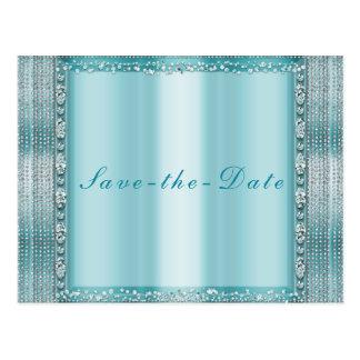 Aqua Teal Blue Silver Diamond Bling Save the Date Postcard