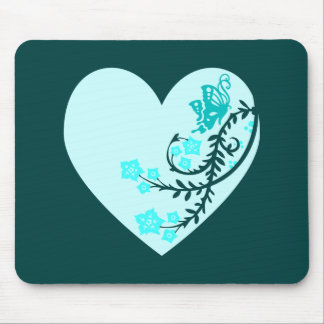 Aqua Teal Butterfly Heart Mouse Pad
