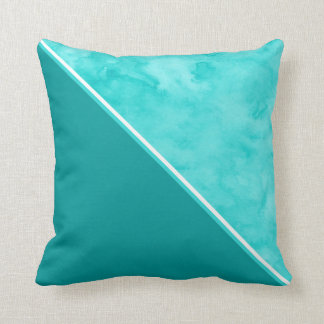Aqua Teal Color Block Cushion
