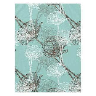 Aqua Teal Floral Outline Pattern Tablecloth