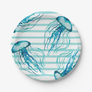Aqua Teal Stripes Watercolor Jellyfish Paper Plate