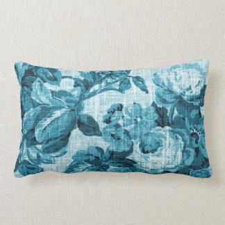 Aqua Teal Turquoise Blue Floral Toile Fabric No.5 Lumbar Cushion