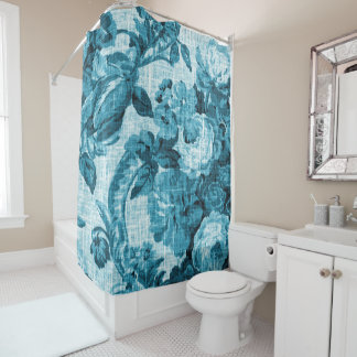 Aqua Teal Turquoise Blue Vintage Floral Toile No.5 Shower Curtain