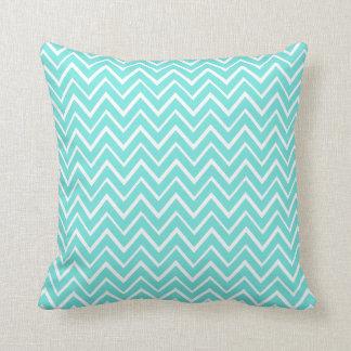 Aqua teal whimsical zigzag chevron pattern pillows