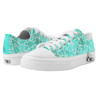 Aqua, Teal with Lace Accents Printed Shoes
