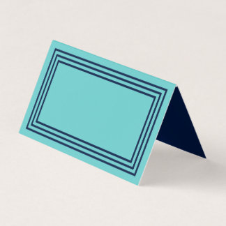 Aqua Teal with Triple Navy Blue Borders Place Card