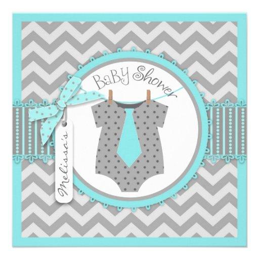 Aqua Tie & Chevron Print Baby Shower Personalized Invitations