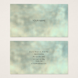 Aqua Tiffany Gray Gold Linen Minimal Texture Burla Business Card