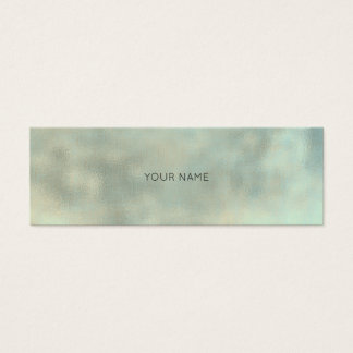 Aqua Tiffany Gray Gold Linen Minimal Texture Urban Mini Business Card