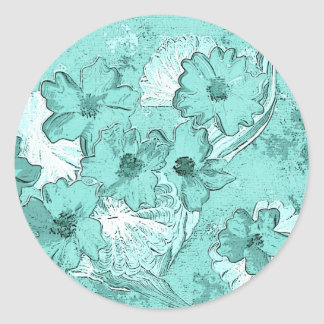 Aqua tinted flower arrangement sticker