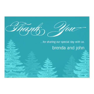 Aqua Trees Winter Wedding Thank You Card