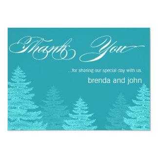 Aqua Trees Winter Wedding Thank You Card 11 Cm X 16 Cm Invitation Card