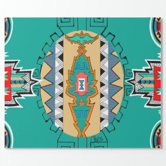Aqua Tribal Wrapping Paper