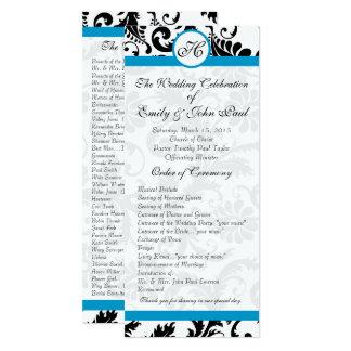 Aqua Trim Black Damask Wedding Program