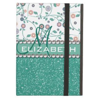 Aqua Turqoise Monogram Flower Glitter Pattern Case For iPad Air