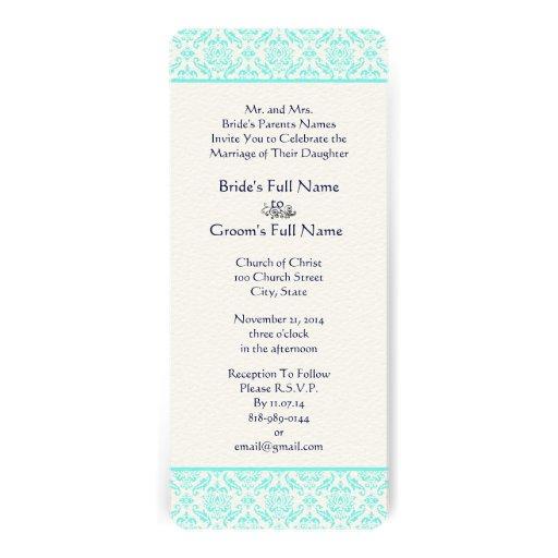 Aqua Turquiose Navy Blue Damask Wedding Invitation