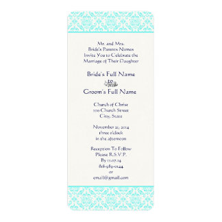 Aqua Turquiose Navy Blue Damask Wedding Invitation