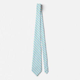 Aqua, Turquoise and Sand Striped Neck Tie