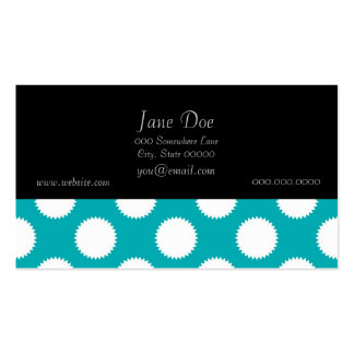 Aqua Turquoise and White Polka Dot Pattern Business Cards