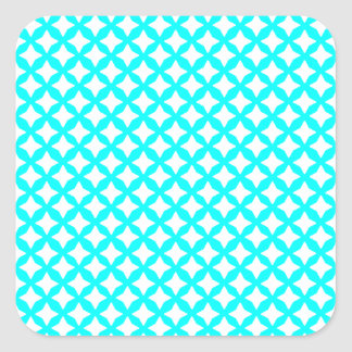 Aqua Turquoise And White Seamless Mesh Pattern Square Sticker