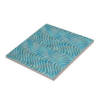 Aqua Turquoise Blue Green Faux Glass Waves Pattern Tile