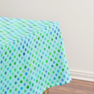 Aqua Turquoise Blue Lime Green Polkadots Pattern Tablecloth