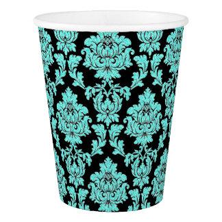 Aqua, turquoise glitter damask on black paper cup