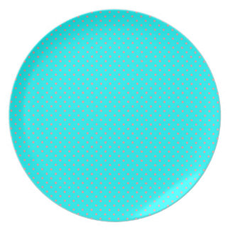 Aqua Turquoise Green And Pink Polka Dots Pattern Party Plates