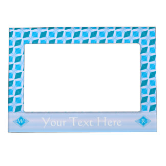 Aqua Turquoise Icy Diamond Pattern Custom Magnetic Picture Frame