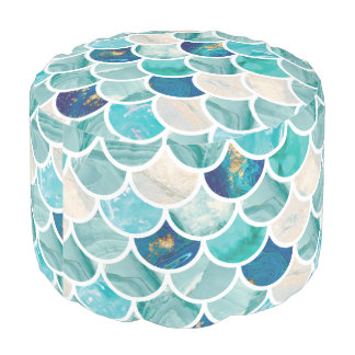 Aqua turquoise marble mermaid fish scales pouf