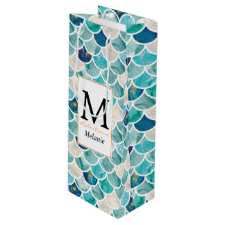 Aqua turquoise marble mermaid fish scales wine gift bag