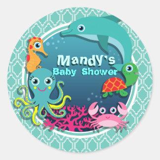 Aqua Turquoise Ocean Life Baby Shower Round Sticker