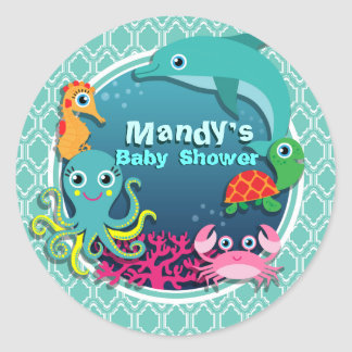 Aqua Turquoise Ocean Life Baby Shower Round Stickers