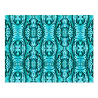 Aqua Turquoise Ocean Wing Organic Pattern Postcard