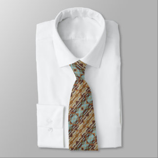 Aqua Turquoise Orange Brown Eclectic Ethnic Look Tie