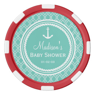 Aqua Turquoise Retro Nautical Anchor Baby Shower Poker Chips