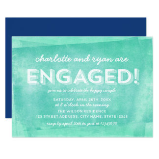 Aqua Turquoise Rolled Ink  Engagement Party Card