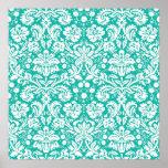 Aqua Turquoise Teal damask pattern