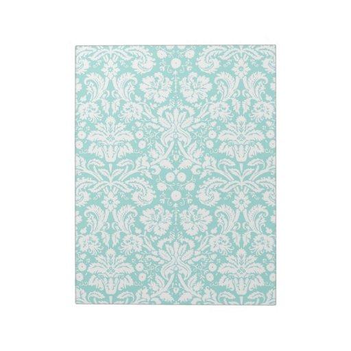 Aqua Turquoise Teal damask pattern Memo Notepads
