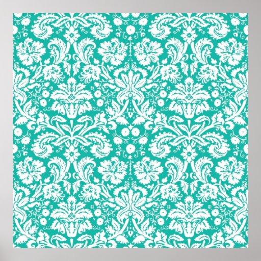 Aqua Turquoise Teal damask pattern | Zazzle
