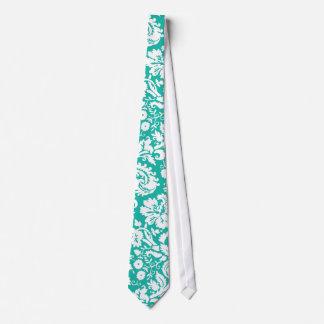 Aqua Turquoise Teal damask pattern Tie