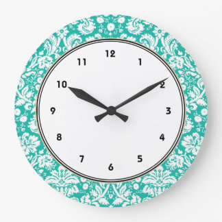 Aqua Turquoise Teal damask pattern Wallclocks